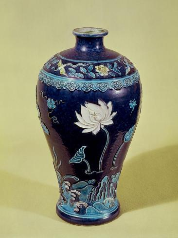 blue decorative vases.htm ming vase with three colour decoration  giclee print  ming vase with three colour decoration
