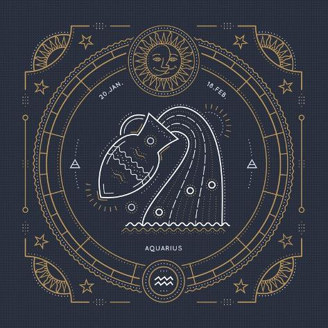 d7e7d222b Vintage Thin Line Aquarius Zodiac Sign Label. Retro Vector Astrological  Symbol, Mystic, Sacred Geom Posters by painterr at AllPosters.com