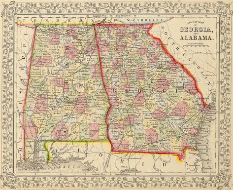 Map Of Georgia Alabama.County Map Of Georgia And Alabama 1868