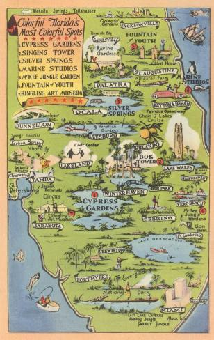 Tourist Map Of Florida Poster At Allposters Com