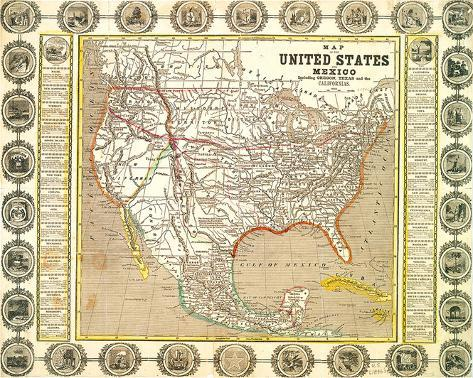 US Mexico Map 1846