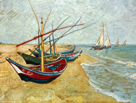 Fishing Boats On The Beach At Saints Maries C 1888 Print By Vincent Van Gogh Allposters