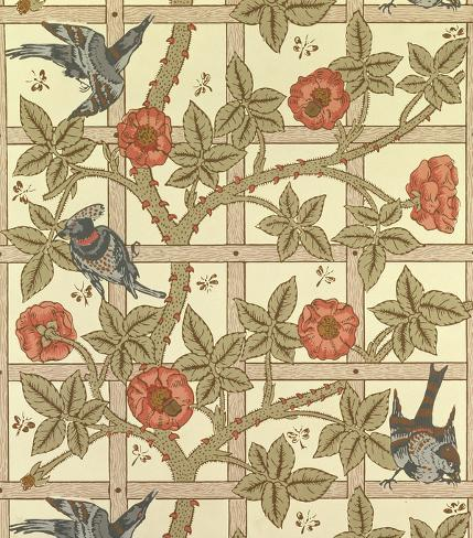 Blue And Orange Trellis Wallpaper Design 1864 Giclee Print By William Morris At AllPosters
