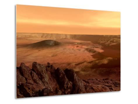The View from the Rim of the Caldera of Olympus Mons on Mars Metalldrucke