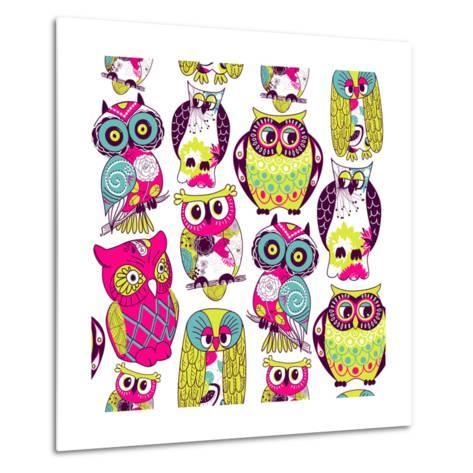 Seamless and Colourful Owl Pattern. Metal Print