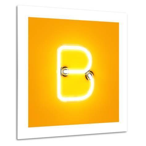 Neon Light Alphabet Character B Font. Neon Tube Letters Glow Effect on Orange Background. 3D Render Metal Print