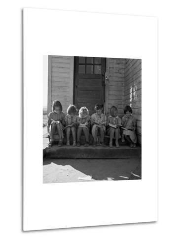 Little Girls Read their Lessons Metal Print