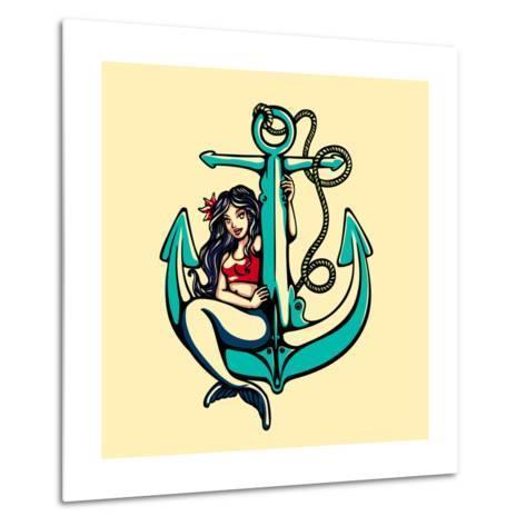 Pretty Siren Mermaid Pin up Girl Sitting on Anchor, Sailor Old School Style Tattoo Vector Illustrat Metal Print
