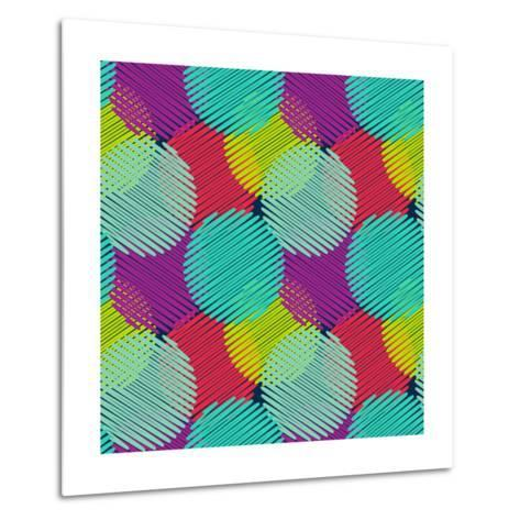 Seamless Pattern with Multicolored Circles Metal Print