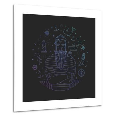 Illustration of Sailor with Pipe Dreams of a Sailor. Print Mermaid and Anchor. Metal Print