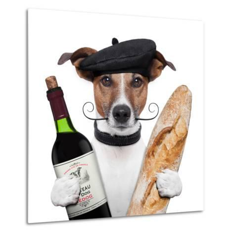 French Dog Wine Baguete Beret Metal Print