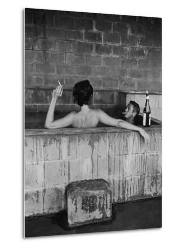 Actor Steve McQueen and Wife Taking Sulfur Bath at Home Metal Print