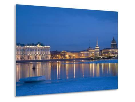 Russia, St;Petersburg; the Partly Frozen Neva River in Winter, with the Winter Palace Metal Print
