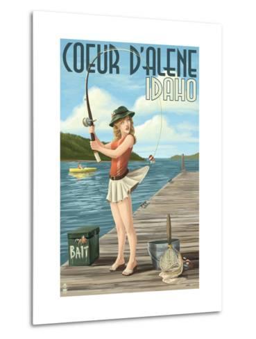 Coeur D'Alene, Idaho - Fishing Pinup Girl Metal Print