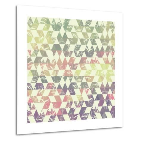 Pattern Geometric with Triangle and Plant Elements Metal Print