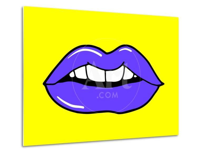Pop Art Lips Isolated  Warhol Style Poster  Dot Background, Raster Effect   Vector Fashion Illustrat