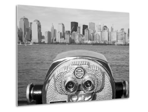 Coin Operated Binoculars Pointed at Manhattan Skyline, Hudson River, Jersey City, New Jersey, Usa Metal Print