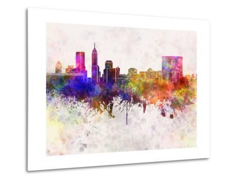 Indianapolis Skyline in Watercolor Background Metal Print