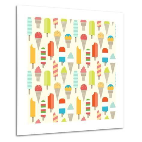 Seamless Colorful Ice Cream Pattern. Metal Print