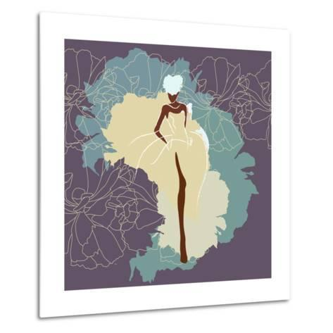 Abstract Sketch of a Woman in a Wedding Dress, Background of Watercolor Spots, Fashion Week, Color Metal Print