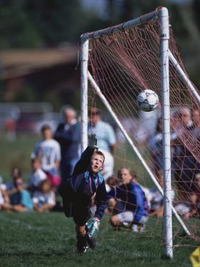 11 Year Old Boys Soccer Goalie in Action