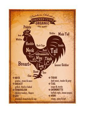 Poster with A Detailed Diagram of Butchering Rooster by 111chemodan111