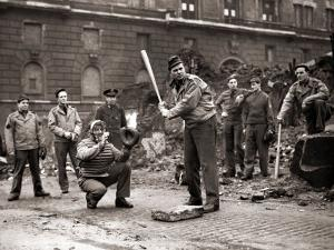 15 American Soldiers Playing Baseball Amid the Ruins of Liverpool, England 1943