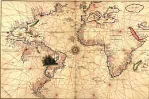 1544 Nautical Map of the Atlantic Ocean