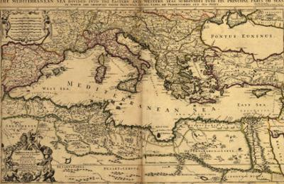 1685 Map of the Mediterranean Sea and Coastal Lands