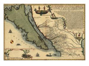 1720 Map of Baja California and Northwest Mexico, Showing California as an Island