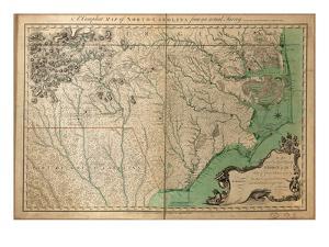 1770, North Carolina State Map with Landowner Names, North Carolina, United States