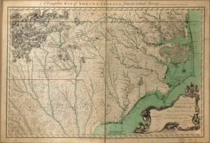 1770, North Carolina State Map with Landowner Names, North Carolina, United States