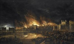 The Great Fire of London, 1666 by 17th Century Dutch School