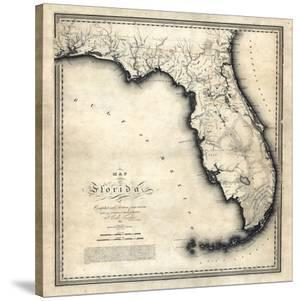 1823, Florida State Map, Florida, United States