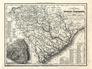 1833, South Carolina Railroad and Transport Map, South Carolina, United States