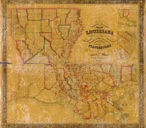 1848, Louisiana State Map with Landowner Names, Louisiana, United States