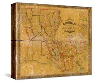 1848, Louisiana State Map with Landowner Names, Louisiana, United States