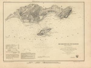 1851, Richmond's Island Harbor Chart Maine, Maine, United States