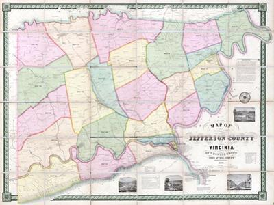 1852, Jefferson County - WV formerly VA Wall Map, West Virginia, United States