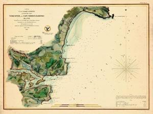 1854, York River and Cape Neddick Harbors Chart, Maine, Maine, United States