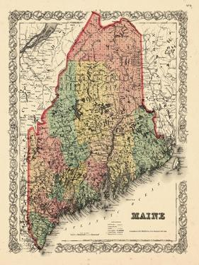 1855, Maine State Map 1855, Maine, United States
