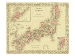 1855 Map of Japan, Showing Prefecture Boundaries