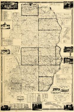 1856, Jefferson County Wall Map, Ohio, United States