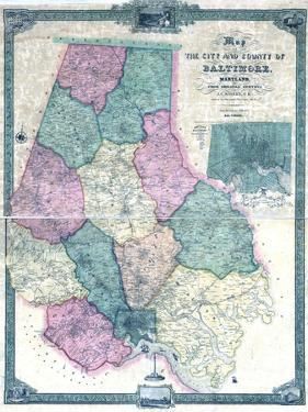 1857, Baltimore County Wall Map, Maryland, United States
