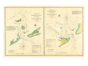 1857, Hatteras and Ocracoke Inlet Chart North Carolina, North Carolina, United States