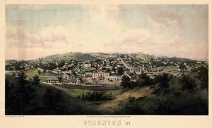 1857, Staunton Bird's Eye View, Virginia, United States