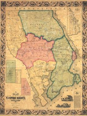 1858, Harford County Wall Map, Maryland, United States