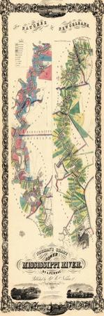 1858, Natchez to New Orleans Lower Mississippi River Map, Louisiana, United States