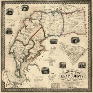 1860, Kent County Wall Map, Maryland, United States