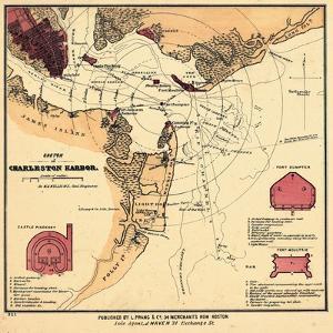 1860s, Charleston Harbor Chart South Carolina, South Carolina, United States